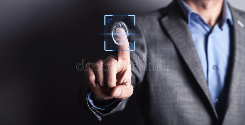 Βιομετρική έννοια προσδιορισμού με τα δακτυλικά αποτυπώματα στοκ εικόνες με δικαίωμα ελεύθερης χρήσης