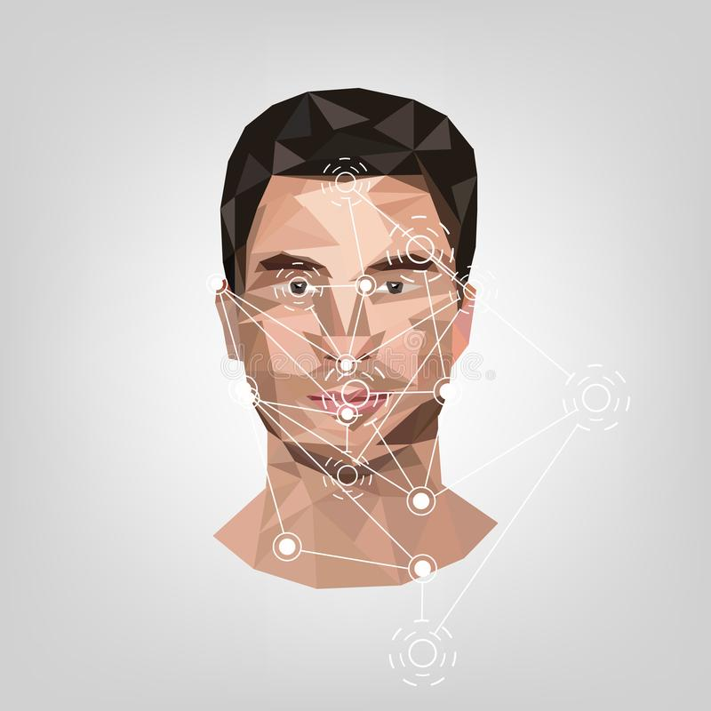 Βιομετρικός προσδιορισμός στο πρόσωπο, στο ύφος χαμηλού πολυ διανυσματική απεικόνιση