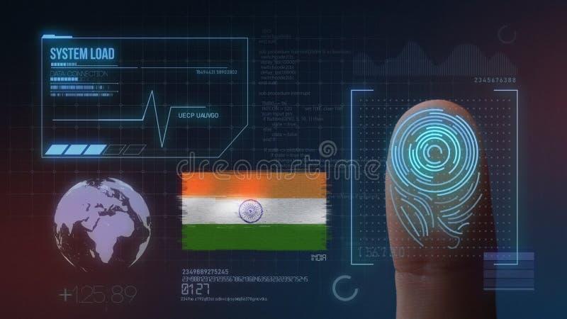 Βιομετρικό σύστημα προσδιορισμού ανίχνευσης δακτυλικών αποτυπωμάτων Υπηκοότητα της Ινδίας διανυσματική απεικόνιση