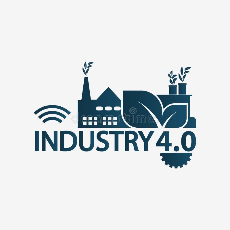 Βιομηχανία 4 αυτοματοποίησης 0 εικονίδιο, εργοστάσιο λογότυπων, έννοια τεχνολογίας απεικόνιση διανυσματική απεικόνιση