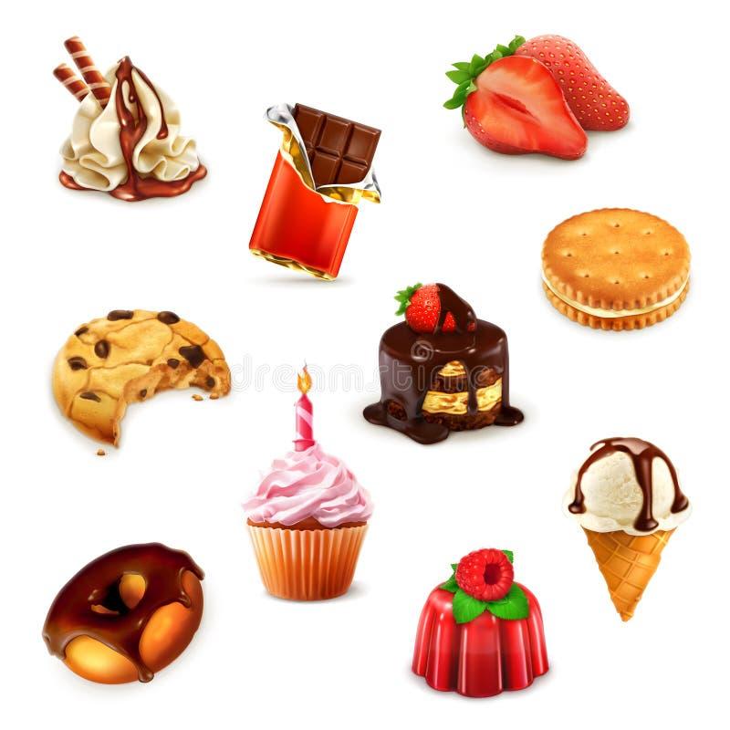 Βιομηχανία ζαχαρωδών προϊόντων, διανυσματικό σύνολο ελεύθερη απεικόνιση δικαιώματος