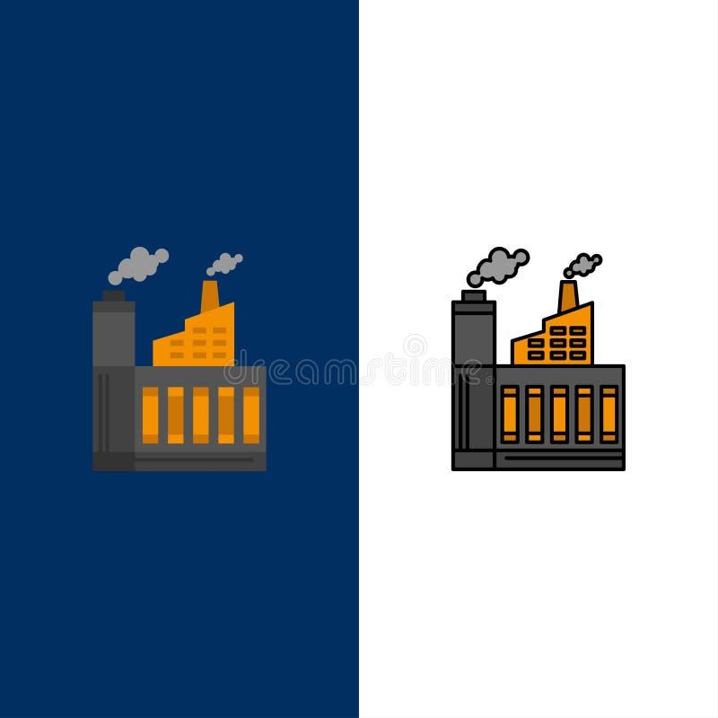 Βιομηχανία, κτήριο, οικοδόμηση, εργοστάσιο, εικονίδια καπνού Επίπεδος και γραμμή γέμισε το καθορισμένο διανυσματικό μπλε υπόβαθρο ελεύθερη απεικόνιση δικαιώματος