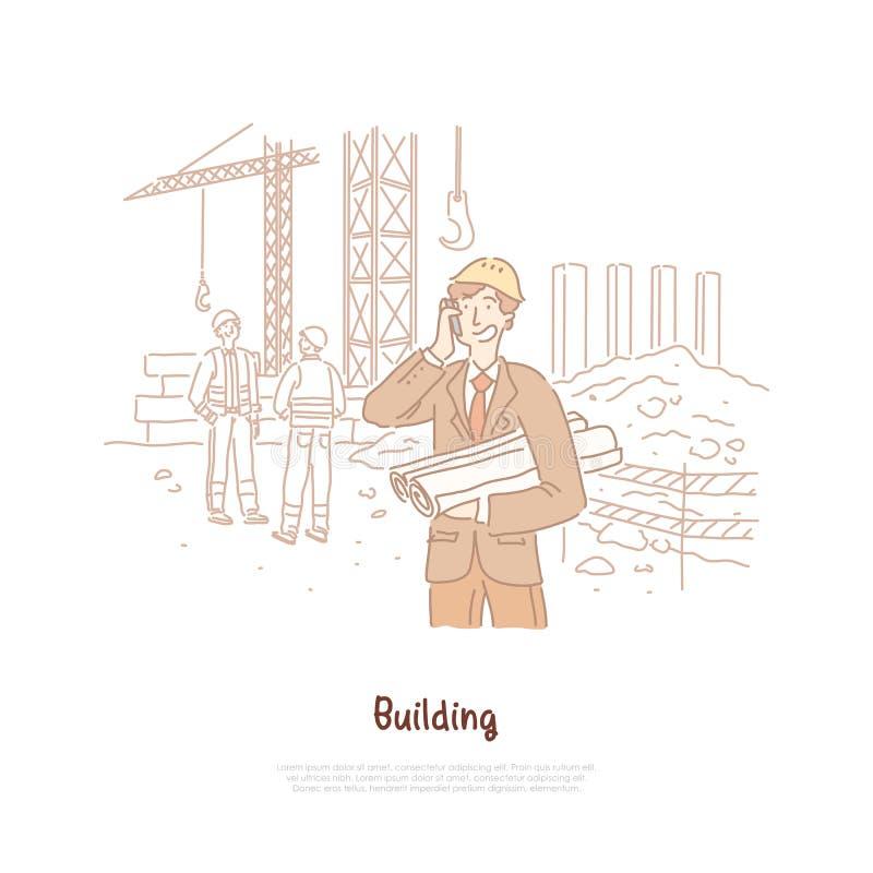 Βιομηχανία κτηρίου, μηχανικός, επιστάτης, επάγγελμα οικοδόμων, νέος αρχιτέκτονας που μιλά στο τηλέφωνο, που κρατά το σχέδιο, έμβλ διανυσματική απεικόνιση