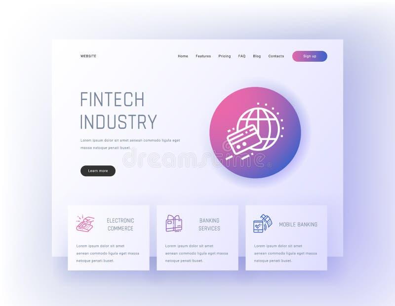 Βιομηχανία Fintech, ηλεκτρονικό εμπόριο, τραπεζικές υπηρεσίες, κινητό πρότυπο τραπεζικών προσγειωμένος σελίδων ελεύθερη απεικόνιση δικαιώματος