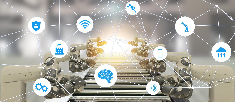 Βιομηχανία 4 Iot έννοια τεχνολογίας τεχνητής νοημοσύνης 0 Έξυπνο εργοστάσιο που χρησιμοποιεί το ρομποτικό αυτοκίνητο manufacturi
