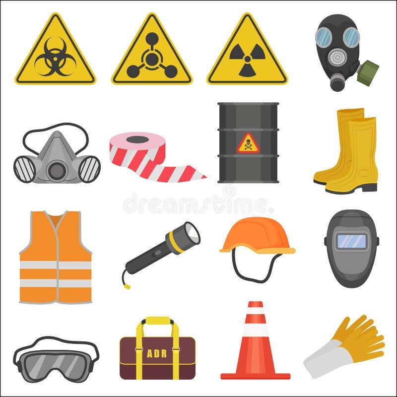 Βιομηχανικά επίπεδα εικονίδια εξοπλισμού ασφάλειας εργασίας εργασίας καθορισμένα Ακτινοβολία και χημική προστασία απεικόνιση αποθεμάτων