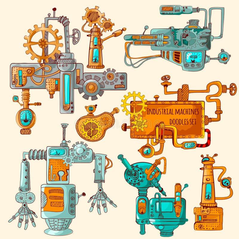 Βιομηχανικές μηχανές Doodles που χρωματίζεται διανυσματική απεικόνιση