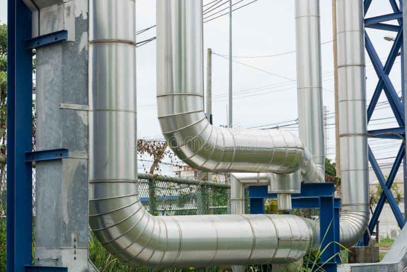 Βιομηχανικές σωληνώσεις στη δυνατότητα σταθμών παραγωγής ηλεκτρικού ρεύματος στοκ εικόνες