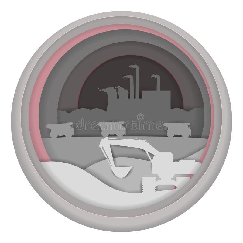 Βιομηχανική έννοια εργοστασίων για το έμβλημα Ιστού, σελίδα ιστοχώρου διανυσματική απεικόνιση