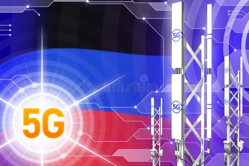Βιομηχανική απεικόνιση Δημοκρατίας λαών του Ntone'tsk 5G, μεγάλος κυψελοειδής ιστός δικτύων ή πύργος στο ψηφιακό υπόβαθρο με τη σ απεικόνιση αποθεμάτων