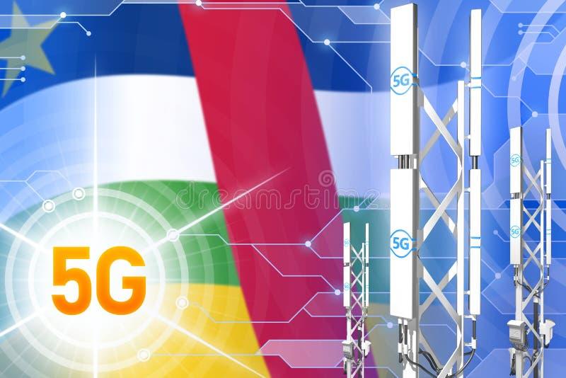 Βιομηχανική απεικόνιση Κεντροαφρικανικής Δημοκρατίας 5G, μεγάλος κυψελοειδής ιστός δικτύων ή πύργος στο ψηφιακό υπόβαθρο με τη ση ελεύθερη απεικόνιση δικαιώματος