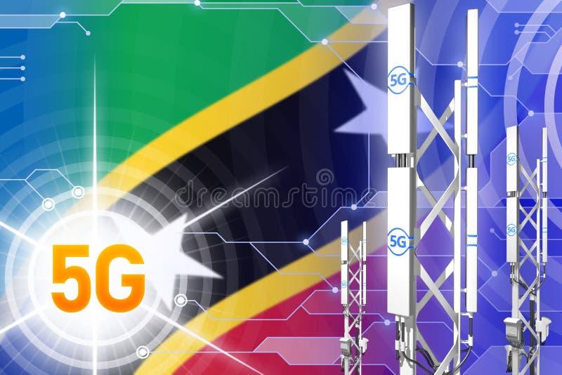 Βιομηχανική απεικόνιση Σαιντ Κιτς και Νέβις 5G, τεράστιος κυψελοειδής ιστός δικτύων ή πύργος στο σύγχρονο υπόβαθρο με τη σημαία - διανυσματική απεικόνιση