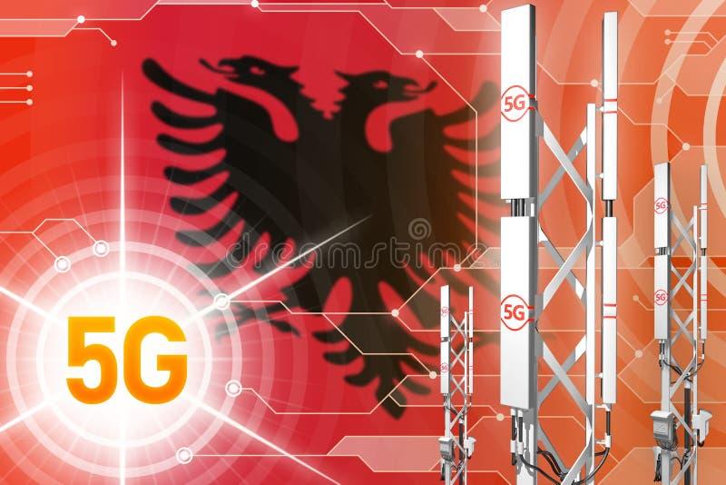Βιομηχανική απεικόνιση της Αλβανίας 5G, μεγάλος κυψελοειδής ιστός δικτύων ή πύργος στο ψηφιακό υπόβαθρο με τη σημαία - τρισδιάστα διανυσματική απεικόνιση
