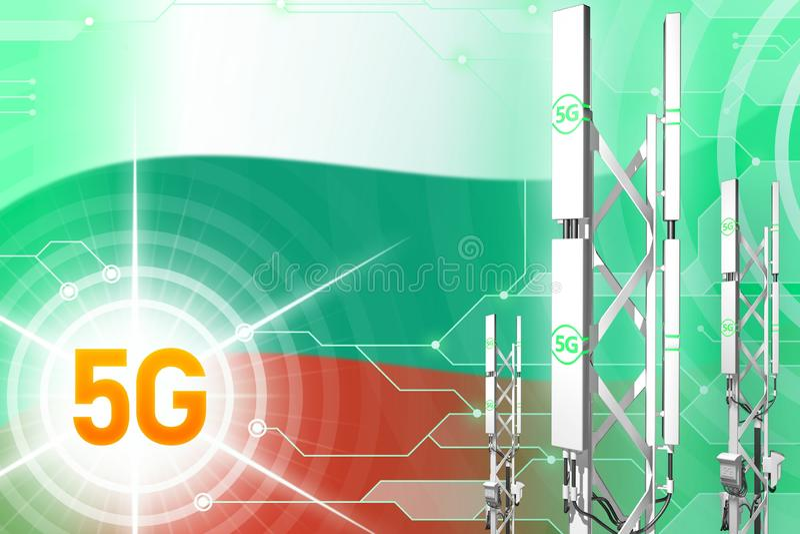 Βιομηχανική απεικόνιση της Βουλγαρίας 5G, μεγάλος κυψελοειδής ιστός δικτύων ή πύργος στο ψηφιακό υπόβαθρο με τη σημαία - τρισδιάσ διανυσματική απεικόνιση