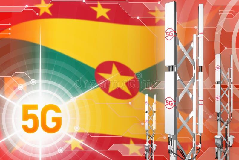 Βιομηχανική απεικόνιση της Γρενάδας 5G, μεγάλος κυψελοειδής ιστός δικτύων ή πύργος στο σύγχρονο υπόβαθρο με τη σημαία - τρισδιάστ διανυσματική απεικόνιση