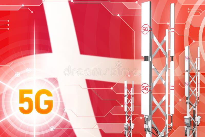 Βιομηχανική απεικόνιση της Δανίας 5G, μεγάλος κυψελοειδής ιστός δικτύων ή πύργος στο ψηφιακό υπόβαθρο με τη σημαία - τρισδιάστατη διανυσματική απεικόνιση