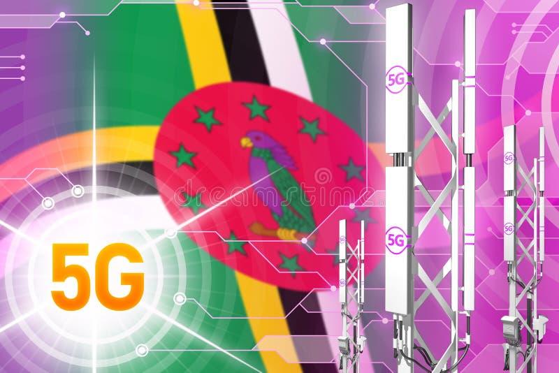 Βιομηχανική απεικόνιση της Δομίνικας 5G, μεγάλος κυψελοειδής ιστός δικτύων ή πύργος στο σύγχρονο υπόβαθρο με τη σημαία - τρισδιάσ διανυσματική απεικόνιση