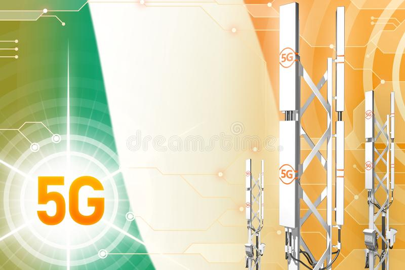 Βιομηχανική απεικόνιση της Ιρλανδίας 5G, τεράστιος κυψελοειδής ιστός δικτύων ή πύργος στο σύγχρονο υπόβαθρο με τη σημαία - τρισδι ελεύθερη απεικόνιση δικαιώματος