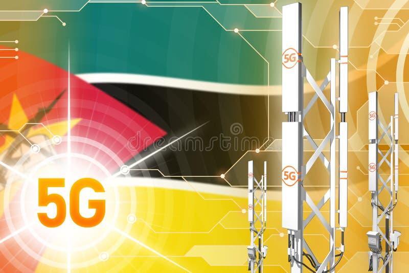 Βιομηχανική απεικόνιση της Μοζαμβίκης 5G, μεγάλος κυψελοειδής ιστός δικτύων ή πύργος στο ψηφιακό υπόβαθρο με τη σημαία - τρισδιάσ ελεύθερη απεικόνιση δικαιώματος