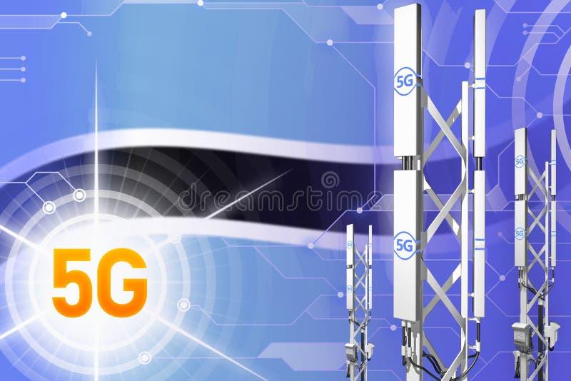 Βιομηχανική απεικόνιση της Μποτσουάνα 5G, μεγάλος κυψελοειδής ιστός δικτύων ή πύργος στο υπόβαθρο υψηλής τεχνολογίας με τη σημαία διανυσματική απεικόνιση