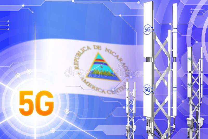 Βιομηχανική απεικόνιση της Νικαράγουας 5G, τεράστιος κυψελοειδής ιστός δικτύων ή πύργος στο σύγχρονο υπόβαθρο με τη σημαία - τρισ απεικόνιση αποθεμάτων