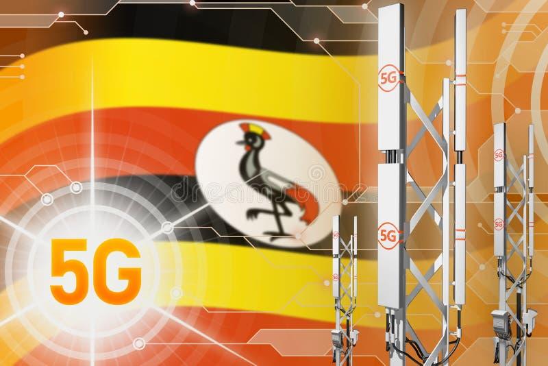 Βιομηχανική απεικόνιση της Ουγκάντας 5G, μεγάλος κυψελοειδής ιστός δικτύων ή πύργος στο σύγχρονο υπόβαθρο με τη σημαία - τρισδιάσ διανυσματική απεικόνιση