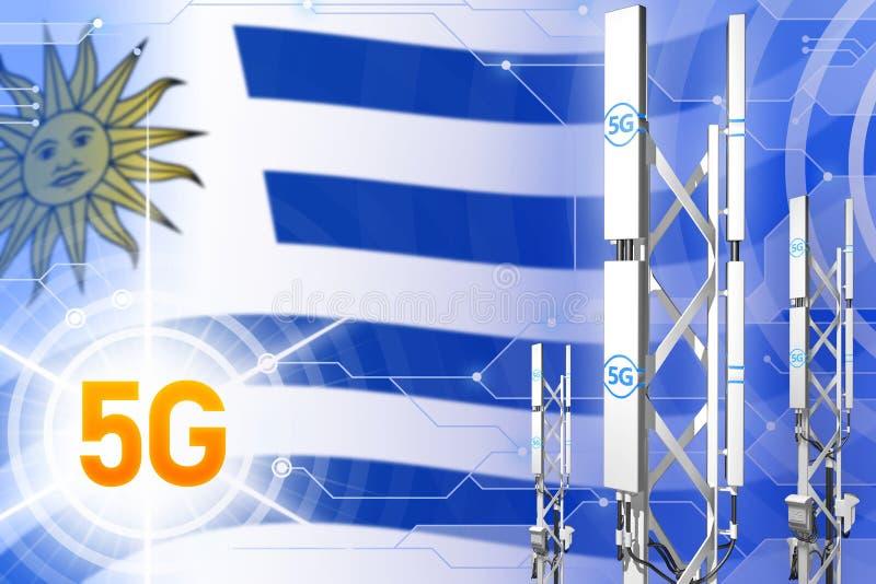Βιομηχανική απεικόνιση της Ουρουγουάης 5G, μεγάλος κυψελοειδής ιστός δικτύων ή πύργος στο σύγχρονο υπόβαθρο με τη σημαία - τρισδι απεικόνιση αποθεμάτων