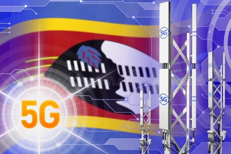 Βιομηχανική απεικόνιση της Σουαζιλάνδης 5G, μεγάλος κυψελοειδής ιστός δικτύων ή πύργος στο ψηφιακό υπόβαθρο με τη σημαία - τρισδι διανυσματική απεικόνιση
