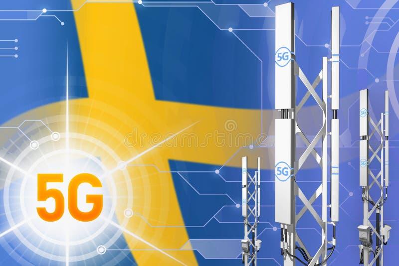 Βιομηχανική απεικόνιση της Σουηδίας 5G, μεγάλος κυψελοειδής ιστός δικτύων ή πύργος στο ψηφιακό υπόβαθρο με τη σημαία - τρισδιάστα ελεύθερη απεικόνιση δικαιώματος