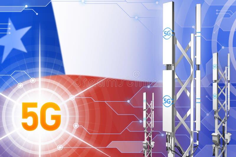 Βιομηχανική απεικόνιση της Χιλής 5G, μεγάλος κυψελοειδής ιστός δικτύων ή πύργος στο σύγχρονο υπόβαθρο με τη σημαία - τρισδιάστατη ελεύθερη απεικόνιση δικαιώματος