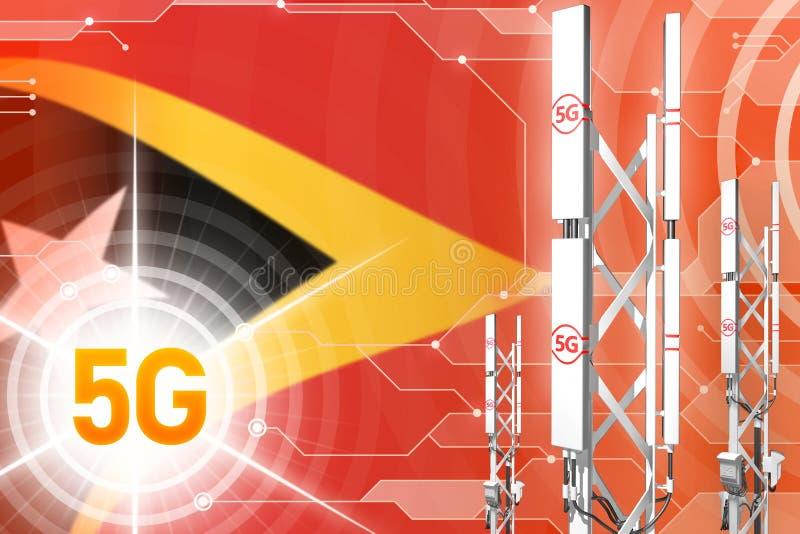 Βιομηχανική απεικόνιση Τιμόρ-Leste 5G, τεράστιος κυψελοειδής ιστός δικτύων ή πύργος στο σύγχρονο υπόβαθρο με τη σημαία - τρισδιάσ διανυσματική απεικόνιση