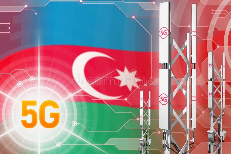Βιομηχανική απεικόνιση του Αζερμπαϊτζάν 5G, μεγάλος κυψελοειδής ιστός δικτύων ή πύργος στο ψηφιακό υπόβαθρο με τη σημαία - τρισδι διανυσματική απεικόνιση