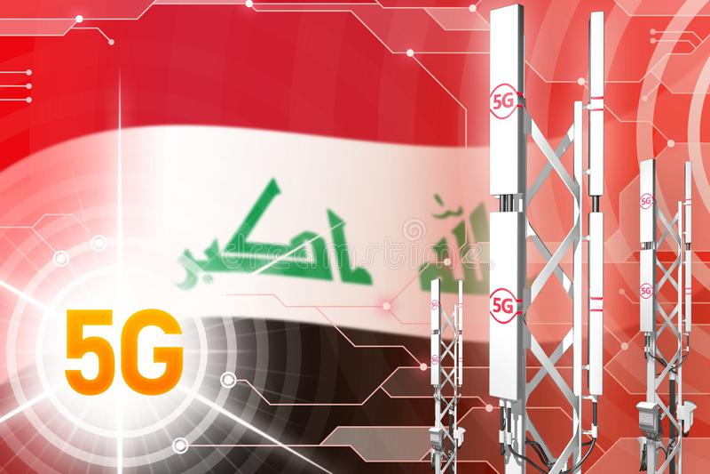 Βιομηχανική απεικόνιση του Ιράκ 5G, μεγάλος κυψελοειδής ιστός δικτύων ή πύργος στο υπόβαθρο υψηλής τεχνολογίας με τη σημαία - τρι ελεύθερη απεικόνιση δικαιώματος