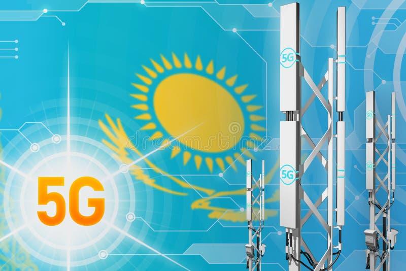 Βιομηχανική απεικόνιση του Καζακστάν 5G, μεγάλος κυψελοειδής ιστός δικτύων ή πύργος στο σύγχρονο υπόβαθρο με τη σημαία - τρισδιάσ απεικόνιση αποθεμάτων