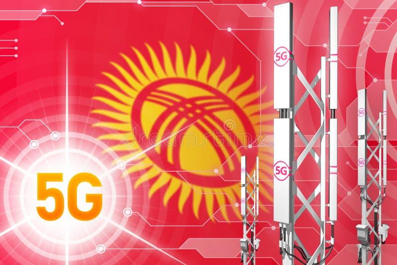 Βιομηχανική απεικόνιση του Κιργιστάν 5G, μεγάλος κυψελοειδής ιστός δικτύων ή πύργος στο υπόβαθρο υψηλής τεχνολογίας με τη σημαία  απεικόνιση αποθεμάτων