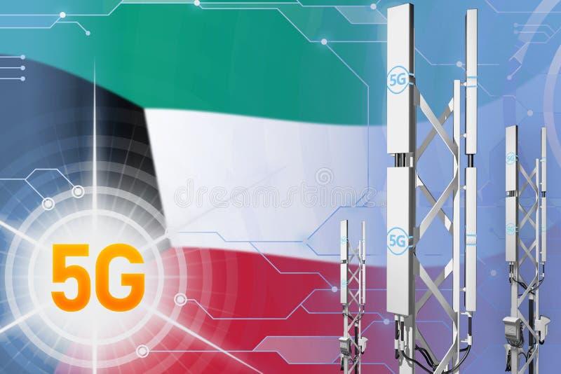 Βιομηχανική απεικόνιση του Κουβέιτ 5G, μεγάλος κυψελοειδής ιστός δικτύων ή πύργος στο σύγχρονο υπόβαθρο με τη σημαία - τρισδιάστα απεικόνιση αποθεμάτων