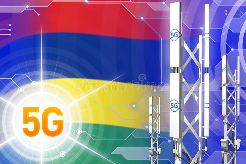 Βιομηχανική απεικόνιση του Μαυρίκιου 5G, μεγάλος κυψελοειδής ιστός δικτύων ή πύργος στο ψηφιακό υπόβαθρο με τη σημαία - τρισδιάστ διανυσματική απεικόνιση