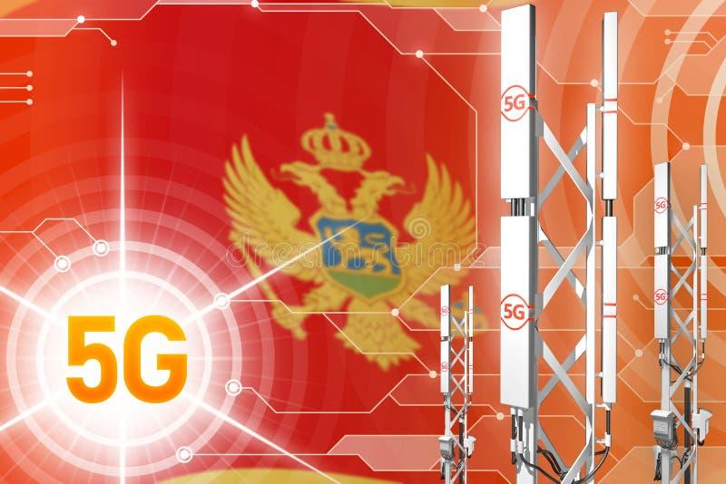 Βιομηχανική απεικόνιση του Μαυροβουνίου 5G, μεγάλος κυψελοειδής ιστός δικτύων ή πύργος στο ψηφιακό υπόβαθρο με τη σημαία - τρισδι απεικόνιση αποθεμάτων