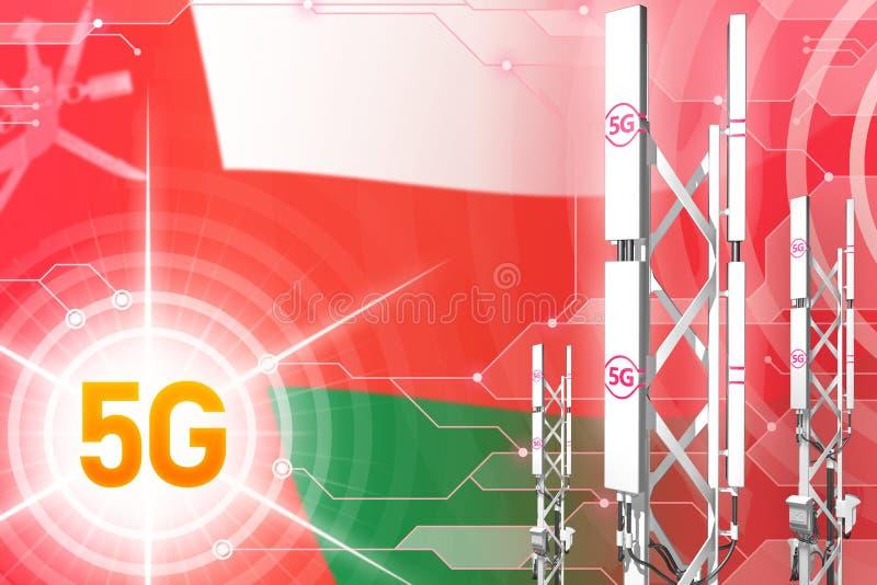 Βιομηχανική απεικόνιση του Ομάν 5G, μεγάλος κυψελοειδής ιστός δικτύων ή πύργος στο σύγχρονο υπόβαθρο με τη σημαία - τρισδιάστατη  ελεύθερη απεικόνιση δικαιώματος