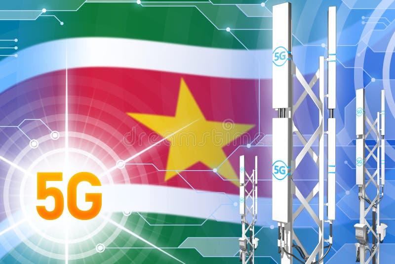 Βιομηχανική απεικόνιση του Σουρινάμ 5G, τεράστιος κυψελοειδής ιστός δικτύων ή πύργος στο σύγχρονο υπόβαθρο με τη σημαία - τρισδιά απεικόνιση αποθεμάτων