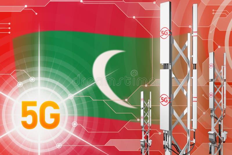 Βιομηχανική απεικόνιση των Μαλδίβες 5G, τεράστιος κυψελοειδής ιστός δικτύων ή πύργος στο σύγχρονο υπόβαθρο με τη σημαία - τρισδιά απεικόνιση αποθεμάτων