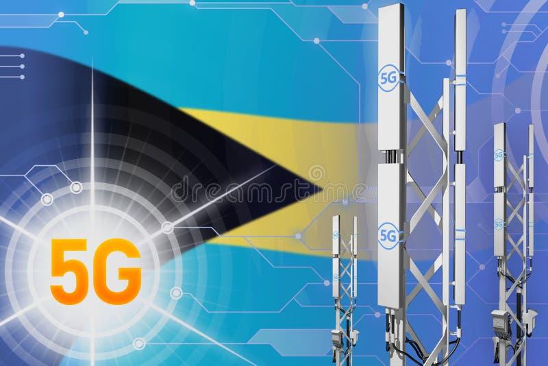 Βιομηχανική απεικόνιση των Μπαχαμών 5G, μεγάλος κυψελοειδής ιστός δικτύων ή πύργος στο υπόβαθρο υψηλής τεχνολογίας με τη σημαία - ελεύθερη απεικόνιση δικαιώματος