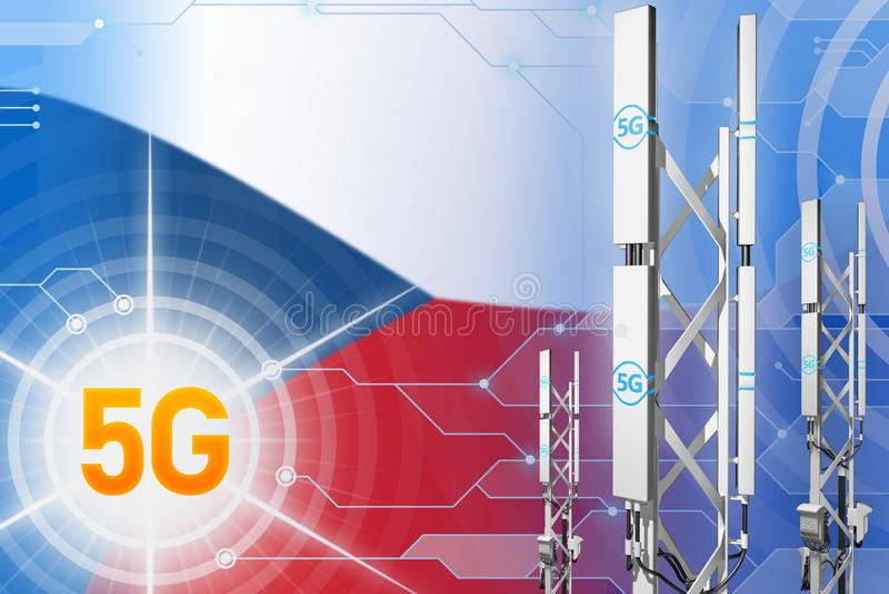 Βιομηχανική απεικόνιση Czechia 5G, μεγάλος κυψελοειδής ιστός δικτύων ή πύργος στο ψηφιακό υπόβαθρο με τη σημαία - τρισδιάστατη απ ελεύθερη απεικόνιση δικαιώματος