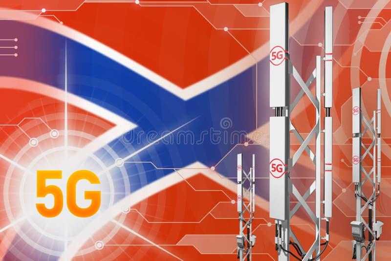 Βιομηχανική απεικόνιση Novorossia 5G, μεγάλος κυψελοειδής ιστός δικτύων ή πύργος στο υπόβαθρο υψηλής τεχνολογίας με τη σημαία - τ απεικόνιση αποθεμάτων