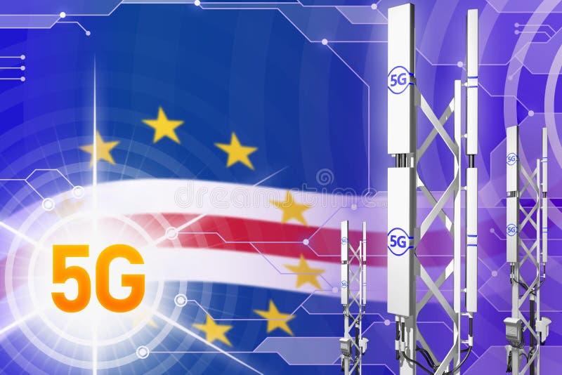 Βιομηχανική απεικόνιση Verde 5G Cabo, μεγάλος κυψελοειδής ιστός δικτύων ή πύργος στο σύγχρονο υπόβαθρο με τη σημαία - τρισδιάστατ απεικόνιση αποθεμάτων