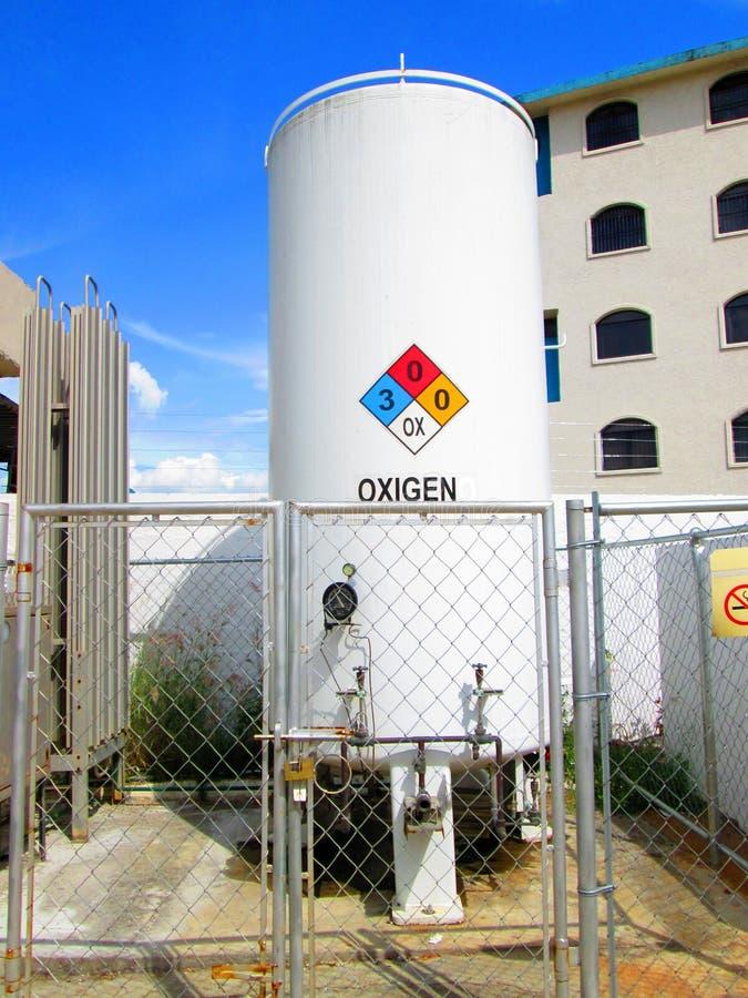 Βιομηχανική δεξαμενή οξυγόνου στη ρουμανική γλώσσα στοκ εικόνες