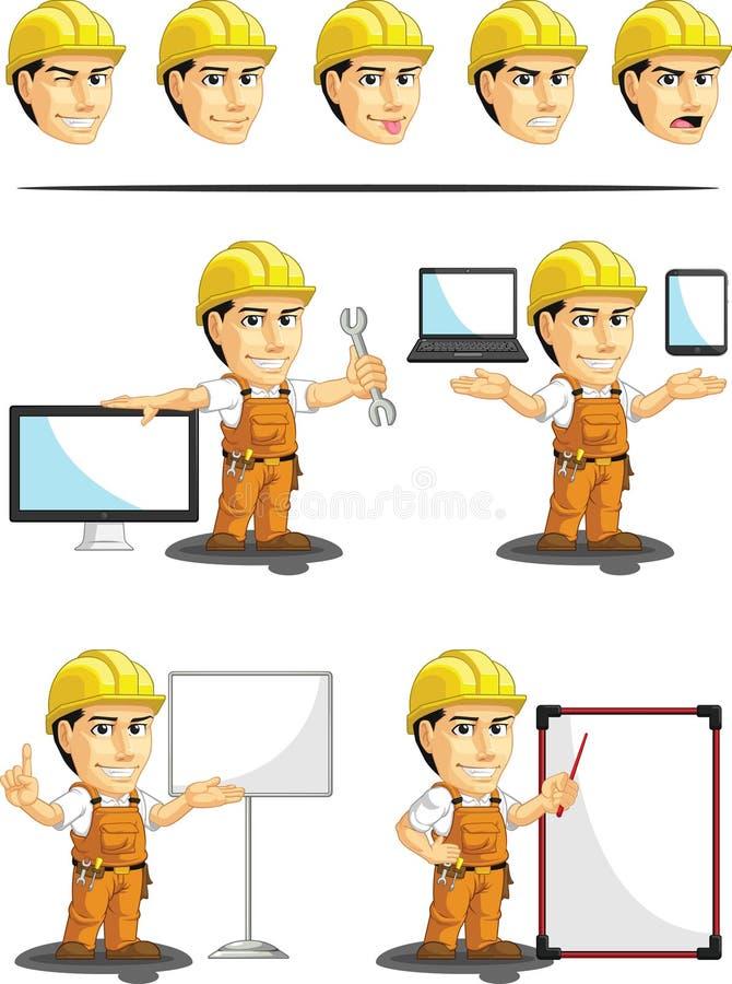 Βιομηχανική εξατομικεύσιμη μασκότ εργατών οικοδομών διανυσματική απεικόνιση