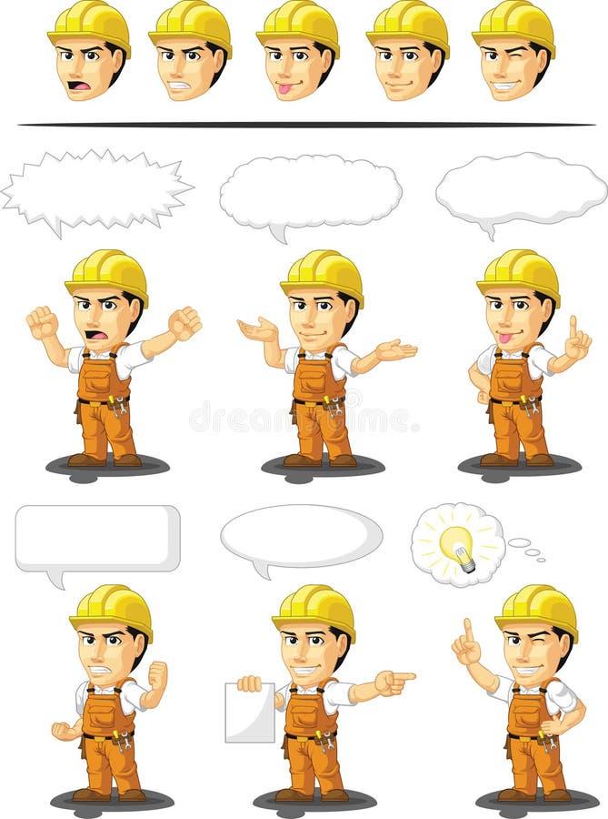 Βιομηχανική εξατομικεύσιμη μασκότ εργατών οικοδομών απεικόνιση αποθεμάτων