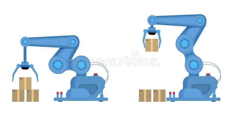 Βιομηχανική επίπεδη διανυσματική απεικόνιση βραχιόνων ρομπότ διανυσματική απεικόνιση