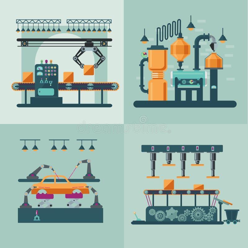 Βιομηχανική εσωτερική τετραγωνική έννοια εργοστασίων διανυσματική απεικόνιση